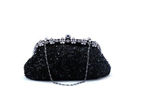 Rétro Sac Femmes Mariée à Sac Black D'embrayage Black Soirée De Main Sequin Sac Sacs Craft GSHGA 5qX8z