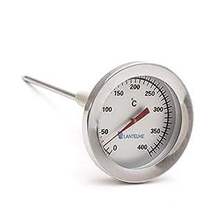 Termómetro para gases de combustión de Lantelme, 400°C, de acero inoxidable Termómetro de gases de combustión, quemador y calefacción con cono de latón.Analógico y bimetálico.