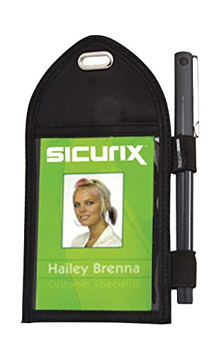 SICURIX Vertical Badge Holder with Pen Loop, Black (55710)