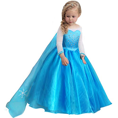 TYHTYM Princess Elsa Frozen Costumes Girls Dress Up Fancy Puffy Ball Gown Birthday]()