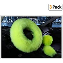 Younglingn Car Steering Wheel Cover Gear Shift Handbrake Fuzzy Cover 1 Set 3 Pcs Multi-colored with Winter Warm Pure Wool Fashion for Girl Women Ladies Universal Fit Most Car (Grass green)
