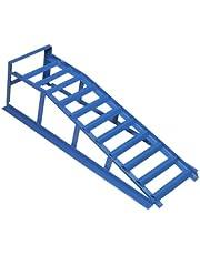 cartrend Oprijplaat, blauw, draagkracht 1000 kg, voor banden tot 195 mm breedte, met overrijbeveiliging, 1 stuk, hefbrug, auto-oprijbok, hefplatform