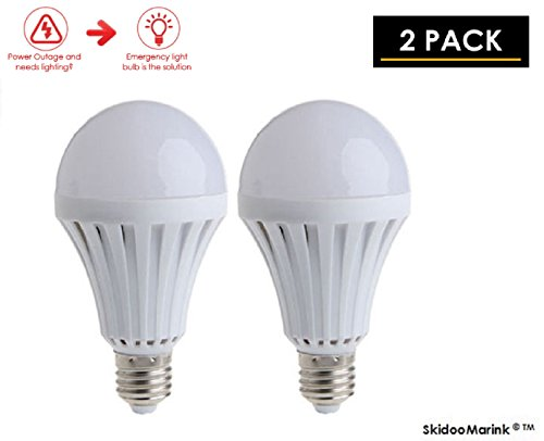 Incandescent Rechargeable Flashlight - SKIDOOMARINK LED Light Bulbs Emergency Lamps Intelligent Lighting Bulbs Human Body Induction, Saving Energy 9W (2 Pack)