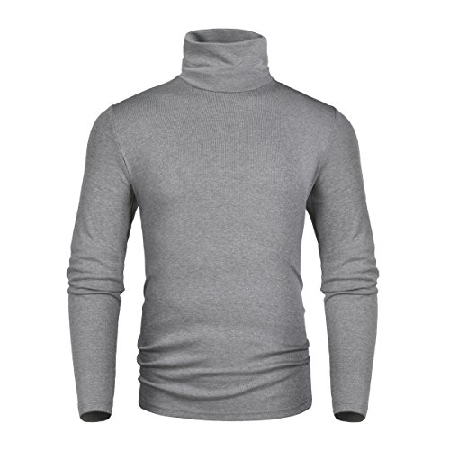 (Derminpro Men's Thermal Turtleneck Soft Long Sleeve T-Shirt Gray)