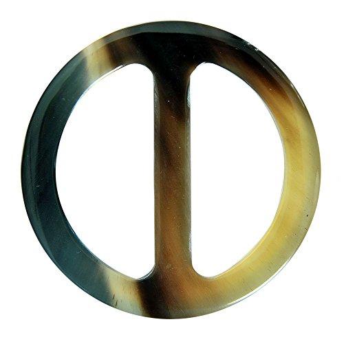 Marycrafts Buffalo Horn Round Scarf Ring Handmade Diameter 2 3/8
