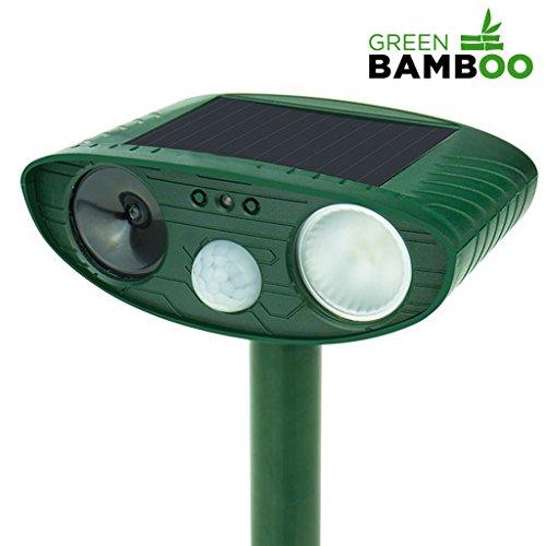 ⭐ [Green Bamboo®] - Ultrason chat chien - Répulsif solaire à ultrasons (+flash à DEL + léger bip sonore dissuasif) anti animaux domestiques et sauvages - Satisfait ou Remboursé