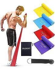 Oudort Träningsband, Motståndsband 4-pack Theraband, professionella resistensband latexfri styrketräning gymnastikband 1,8 m långt träningsband för muskeluppbyggnad, crossfit, yoga, pilates för män och kvinnor
