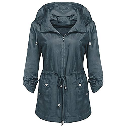 MIRRAY with Ladies Jacket Large Sleeve Detachable Pockets Outwear Lightweight Size Hooded Rain Autumn Long Solid Waterproof Belted Blue Womens Winter Loose Anorak Outerwear Hoodies Casual Coats grxU5gwA