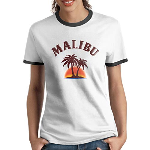 GuiJia Ye Women's Short Sleeve Ringer T-Shirt Malibu Rum Fashion Summer Raglan Baseball Tee Black ()