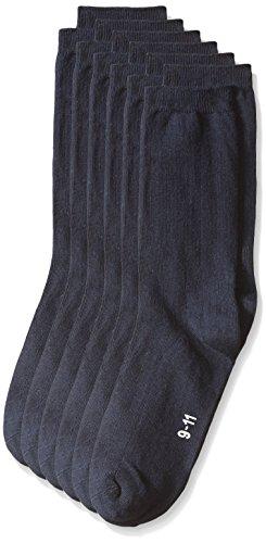 trimfit Big Boys' 6 Pack Dress Rib Crew Socks (Comfortoe), Navy, Medium/8-9.5