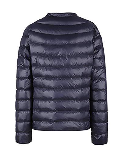 Sleeve Women's Coats LaoZanA Thin Outerwear Slim Long Warm Down Navy Jacket d7Xnwq1