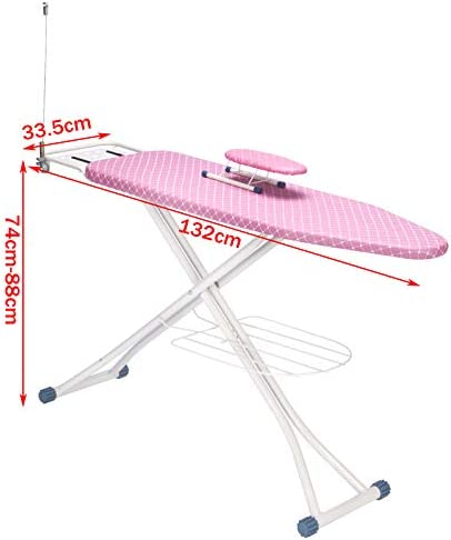 E-starain Ironing Board with Solid Steam Unit Holder and Sleeve board, 132x33.5x(74-88) cm