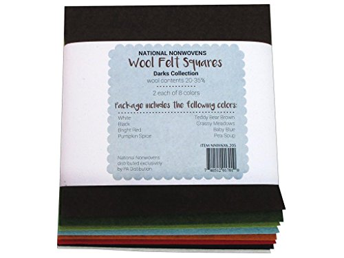 - National Non Wovens Wool 20/35 Collection Felt Squares 6x6 Dark