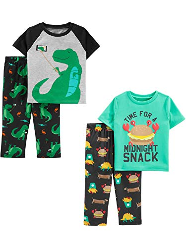 Simple Joys by Carter's Boys' Toddler 4-Piece Fleece Pajama Set, Dino/Midnight Snacker - Size 4 Set Boys Pajamas