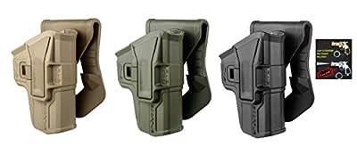 FAB Defense G-9 SCORPUS® Pistol Holster Glock 17, 18, 19, 22, 23, 25, 31, 32, 34, 35, 37, 38 - 9mm Level 1 Paddle&Belt In Black / Tan / Green Color Right Hand + Laser & Flashlight Gun Shaped Key Chain
