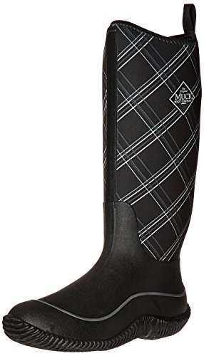 (Muck Boots Hale Multi-Season Women's Rubber Boot, Black/Gray Plaid, 5 M US)