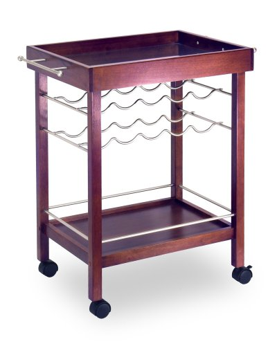 Winsome Wood Bar Cart, Espresso Finish - Espresso Wine Cart