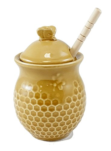 (Honeycomb Pattern Honey Jar with Wooden Dipper)