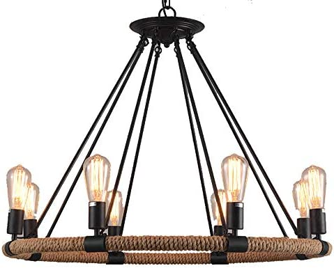 FGHOME Vintage Industrial Hemp Rope Living Room Chandelier Fixtures Retro Dining Room Pendant Lamp Bedroom Personality Ceiling Pendant Amiercan Country Rustic Ceiling Pendant Lights 8 Heads