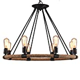 FGHOME Vintage Industrial Hemp Rope Living Room Chandelier Fixtures Retro Dining Room Pendant Lamp Bedroom Personality Ceiling Pendant Amiercan Country Rustic Ceiling Pendant Lights (8 Heads) Review