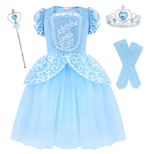 HenzWorld Cinderella Costume Dress Girls Accessories Princess Birthday Party Cosplay Outfit ()