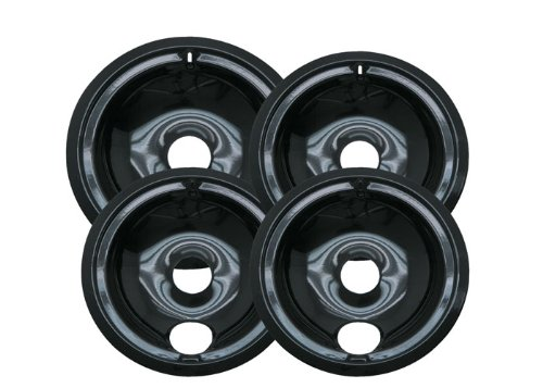 Range Kleen P119204XZ Black Style B Porcelain Drip Pans Set of 4  Containing 3-6 Inch Pans and 1-8 Inch Pan