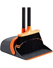 SANGFOR Broom and Dustpan Set for Home, Long Handle Broom with Dustpan Combo Set, Dustpan with Broom for Home Kitchen Room Office Lobby Floor Use, Upright Standing Dustpan and Broom Set(Orange)