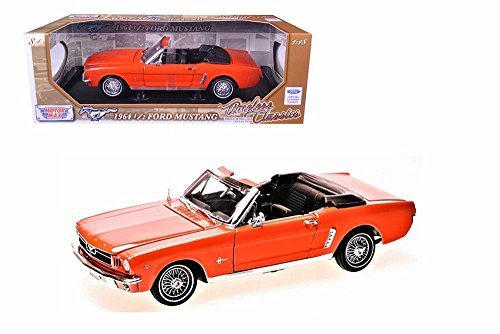 Motor Max 1964 Ford Mustang Convertible 1964.5, Orange 73145TC/OR - 1/18 Scale Diecast Model Toy Car