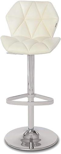 Cream Prism Adjustable Height Swivel Armless Bar Stool