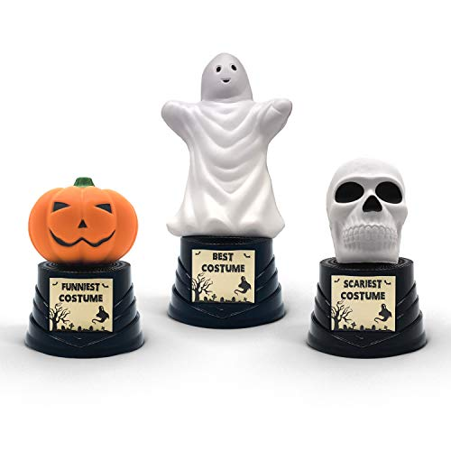 Funniest Costume For Halloween (Trophy Crunch - Halloween Trophies Award - Best - Funniest - Scariest Costume Party Favors - 3 Pack Classic Designs - Choose from 6)