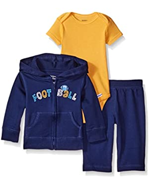 Baby Boys' 3 Piece Hooded Jacket, Bodysuit and Pant Set
