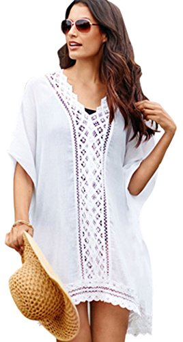 TomYork White Lace Detail Chiffon Swim Cover Up (Cute Toga Ideas)