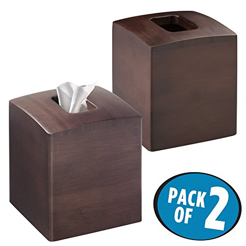 mDesign Square Bamboo Facial Tissue Box Cover Holder for Bathroom Vanity Counter Tops, Bedroom Dressers, Night Stands, Desks and Tables - Pack of 2, Espresso (Dresser Bedroom Square)