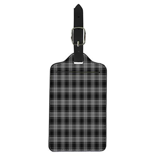 Tinmun Luggage Tag Black Patterned of the Clan Douglas Grey Tartan Plaid Suitcase Baggage Label Travel Tag Labels (Tartan Douglas Baby)