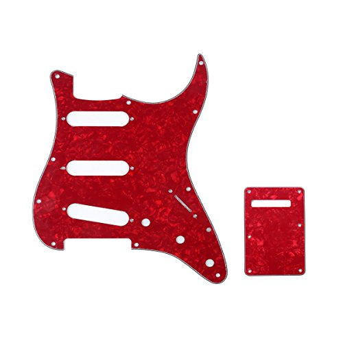 Musiclily SSS 11 Holes Strat Electric Guitar Pickguard and BackPlate Set for Fender US/Mexico Made Standard Stratocaster Modern Style Guitar Parts,4Ply Pearl Red