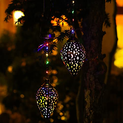 Hanging Solar Lantern 4 Colour Outdoor Patio Decor 2 Pack Solar Lights Outdoor Decorative for Garden