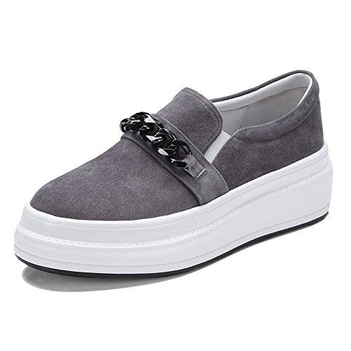 KJJDE Zapatos con Plataforma Mujeres WSXY-A0914 Cadena Creativa de Metal Zapatos Casuales Hembra Gray