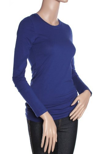 Northwest Blue Shirt (Active Basic Athletic Fitted Plain Long Sleeves Round Crew Neck T Shirt Top,Small,Navy)