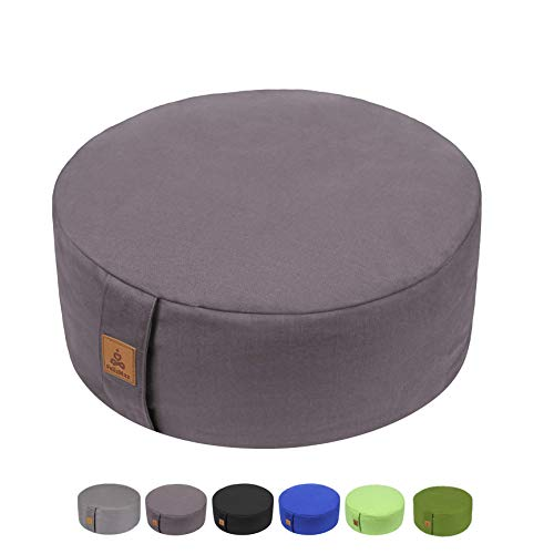 Zafu Buckwheat Meditation Cushion, Round zabuton Meditation Pillow, Yoga Bolster, Floor Pouf, Zippered Organic Cotton Cover, Machine Washable - 4 Colors and large small Sizes (Dark Grey, 16