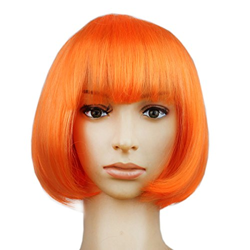 OULII Cosplay Short Straight Bob Wigs for Costume Masquerade Ball Rave Party Favors (Orange)