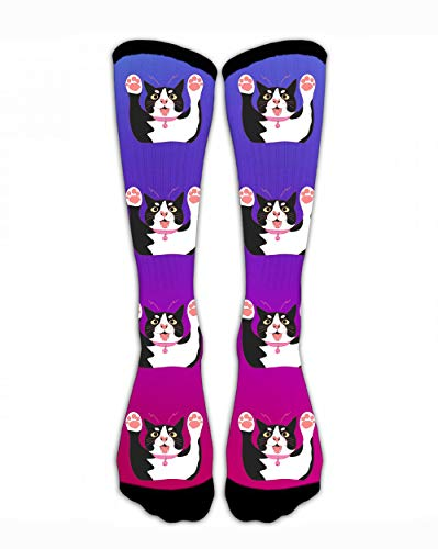 SARA NELL Compression Socks Cute Black and White Cat .2Jpg Crew Sock Crazy Socks Tube High Socks Personalized Novelty Funny Sports High Stockings for Teen Boys Girls -