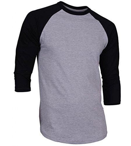 Dream USA Men's Casual 3/4 Sleeve Baseball Tshirt Raglan Jersey Shirt H Gray/Black