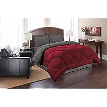 Elegant Comfort Goose Down Alternative Reversible 3-Piece Comforter Set, King/Cal King, Red/Gray
