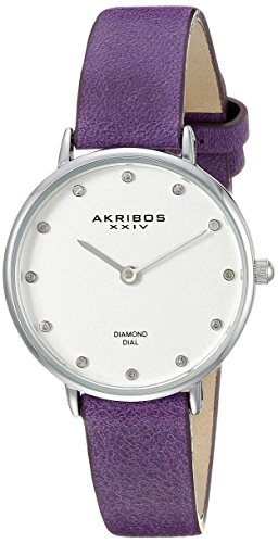 Akribos XXIV Women's AK882 Round Silver Dial Two Hand Quartz Strap Watch