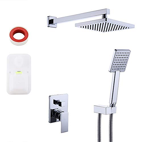 Valve Shower Wall Mount (KES Pressure Balancing Shower System Rough-in Shower Valve Faucet and Trim Kit Handheld and Rainfall Shower Head Combo Modern Square Polished Chrome, XB6223-CH)