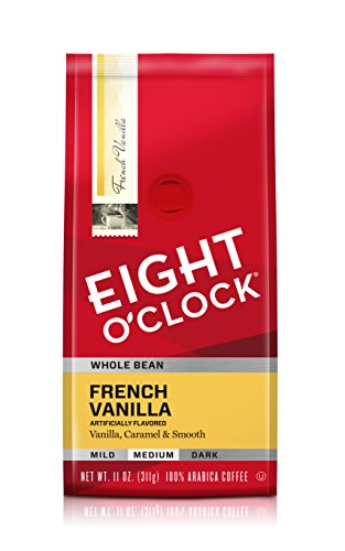 Eight O'Clock Whole Bean Coffee, French Vanilla, 11 Ounce (Pack of 6)