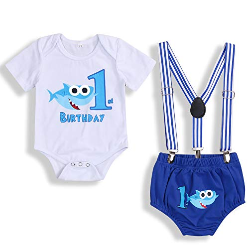 Baby Birthday Shark Clothes Baby Boy Girl Short Sleeve Bodysuit and Cake Smash Outfits (Blue - C, 9-15 Months)