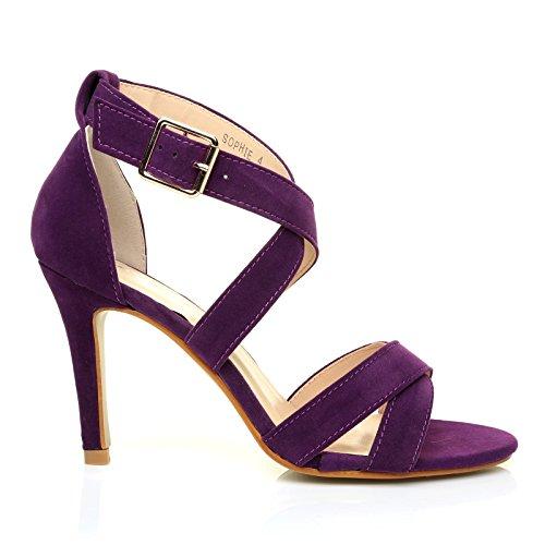 ShuWish UK Sophie Purple Faux Suede Strappy High Heel Sandals U5IocPuIM