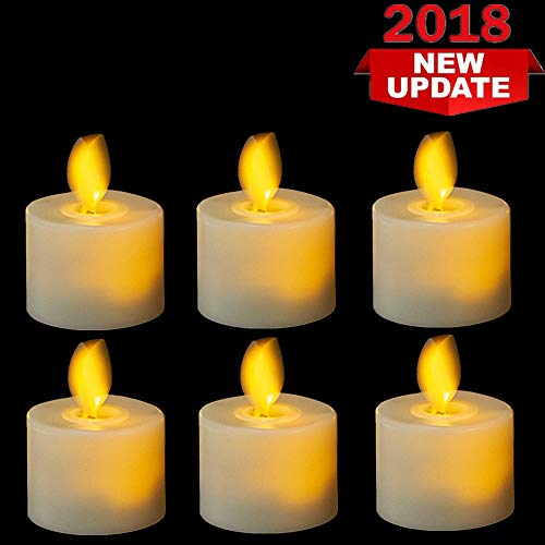 Flameless Tea Lights Candles,Led Battery Operated Flicking Tealights Bluk in Warm White for Wedding,Christmas and Birthday Party-6 Pack ()