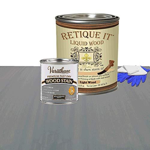 Retique It Liquid Wood - Quart Light Wood w/Weathered Gray Stain -Stainable Wood Fiber Paint- Put a fresh coat of wood on it (32oz LW, Weath Gray)